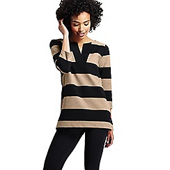 Lands' End - Beige women's three quarter sleeve split neck stripe tunic
