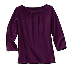 Lands' End - Red women's three quarter sleeve ponte pleat neck blouse