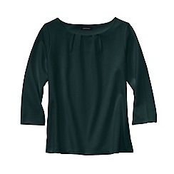 Lands' End - Green women's three quarter sleeve ponte pleat neck blouse