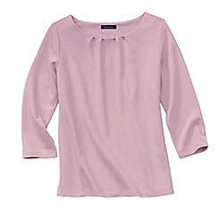 Lands' End - Pink women's three quarter sleeve ponte pleat neck blouse