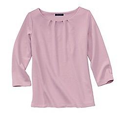 Lands' End - Pink women's three quarter sleeve ponte pleat neck blouse