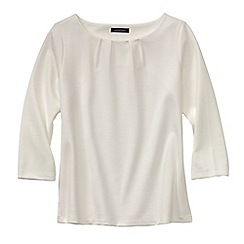 Lands' End - Cream women's three quarter sleeve ponte pleat neck blouse
