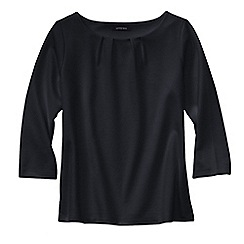 Lands' End - Black petite three quarter sleeve ponte pleat neck blouse