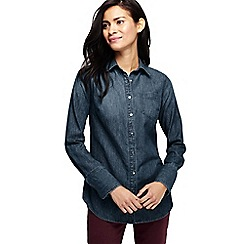 Lands' End - Blue women' long denim shirt