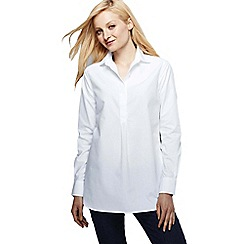 Lands' End - White petite supima reg non iron shirt