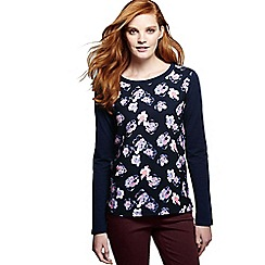 Lands' End - Blue women's woven front print jumper
