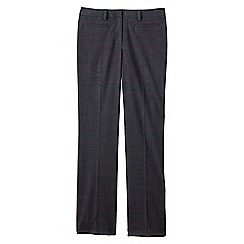 Lands' End - Grey women's regular wear to work mid rise patterned trousers