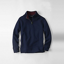 Lands' End - Blue boys' quarter zip polo neck rib top