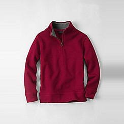 Lands' End - Pink little boys' quarter zip polo neck rib top