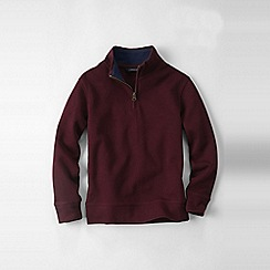 Lands' End - Purple boys' quarter zip polo neck rib top