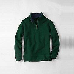 Lands' End - Green boys' quarter zip polo neck rib top
