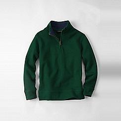 Lands' End - Green boys' quarter zip polo neck rib top