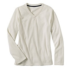Lands' End - Cream women's everyday fleece 100 v-neck jumper