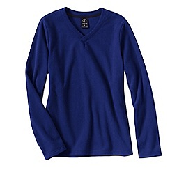 Lands' End - Blue women's everyday fleece 100 v-neck jumper