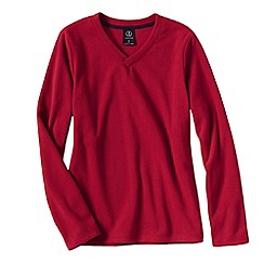 Lands' End - Red women's everyday fleece 100 v-neck jumper
