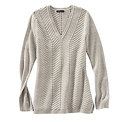 Lands' End - Beige women's chevron v-neck tunic