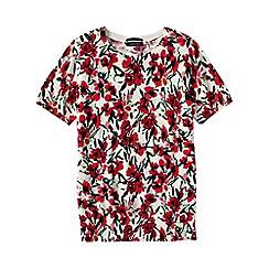 Lands' End - Red women's supima®floral print short sleeve jewelneck jumper