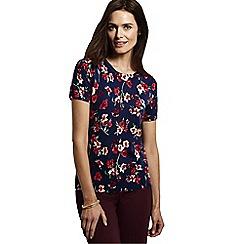 Lands' End - Blue women's supima®floral print short sleeve jewelneck jumper