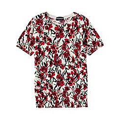 Lands' End - Red women's supima floral print short sleeve jewelneck jumper