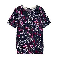 Lands' End - Blue women's supima floral print short sleeve jewelneck jumper