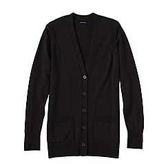 Lands' End - Black women's merino v-neck cardigan