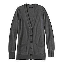 Lands' End - Grey women's merino v-neck cardigan