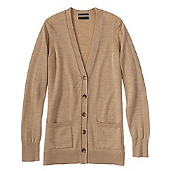 Lands' End - Beige women's merino v-neck cardigan