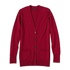 Lands' End - Red women's merino v-neck cardigan