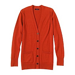 Lands' End - Orange women's merino v-neck cardigan