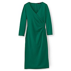 Lands' End - Green ponte jersey tucked wrap dress