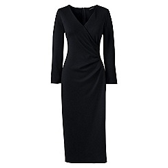 Lands' End - Black ponte jersey tucked wrap dress