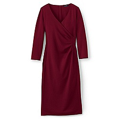 Lands' End - Red ponte jersey tucked wrap dress