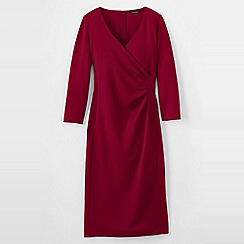 Lands' End - Pink women's ponte jersey tucked wrap dress