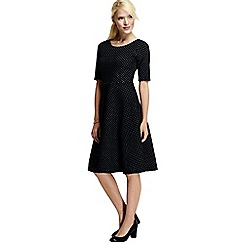 Lands' End - Black women's jacquard boatneck dress