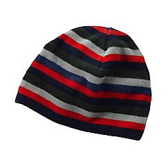 Lands' End - Grey men's striped thermacheck 200 fleece hat