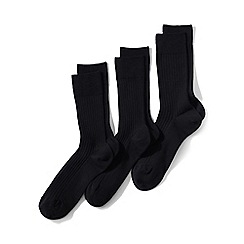 Lands' End - Black rib-knit dress socks - 3-pack
