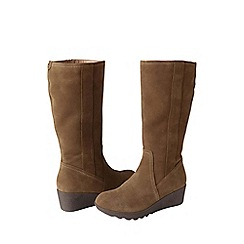 Lands' End - Beige women's chalet suede boots