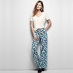 Lands' End - Blue women's regular jersey patterned drawstring pyjama bottoms