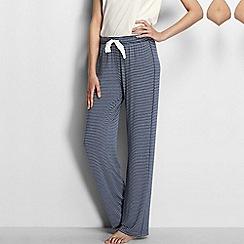 Lands' End - Blue women's regular jersey patterned drawstring pyjama bottoms