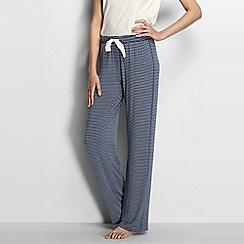 Lands' End - Blue women's petite jersey patterned drawstring pyjama bottoms