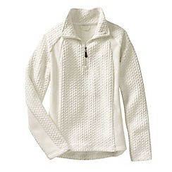 Lands' End - Cream women's fleece herringbone half-zip