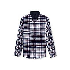 Lands' End - Grey corduroy collar flannel shirt