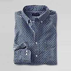 Lands' End - Blue slim fit printed sail rigger oxford shirt