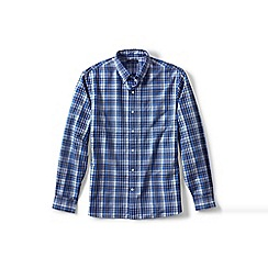 Lands' End - Blue traditional fit patterned sail rigger oxford shirt