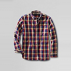 Lands' End - Red traditional fit patterned sail rigger oxford shirt