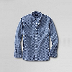 Lands' End - Blue traditional fit printed sail rigger oxford shirt
