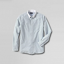 Lands' End - White men's traditional fit contrast collar sail rigger shirt