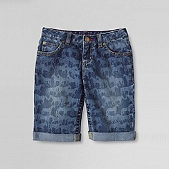 Lands' End - Blue little girls' rolled up pattern denim bermuda shorts