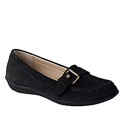 Lands' End - Black wide casual suede loafers
