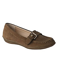 Lands' End - Beige women's wide casual suede loafers
